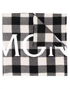 Шарф в клетку с логотипом Moncler