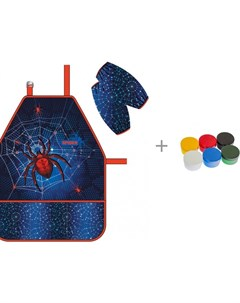 Фартук с нарукавниками Spider и пальчиковые краски Морские приключения Енота Мульти Пульти Erich krause