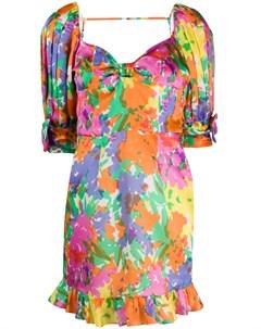 Платье мини с цветочным принтом Alessandra rich