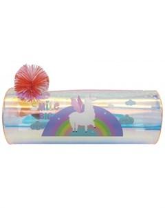 Пенал Лама на радуге круглый с помпоном Mihi mihi