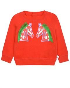 Красный свитшот с принтом лошади детский Stella mccartney