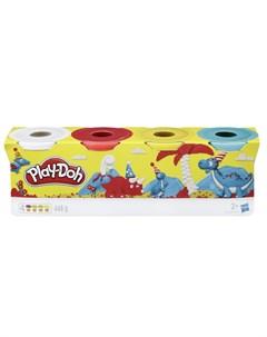 Игровой набор Масса для лепки 4 баночки базовые цвета Play-doh