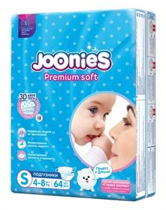 Подгузники Premium Soft размер S 4 8кг 64шт Joonies