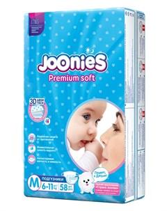 Подгузники Premium Soft размер M 6 11кг 58шт Joonies