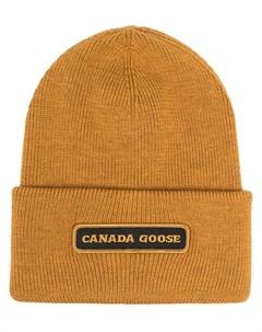 Шапка бини с нашивкой логотипом Canada goose