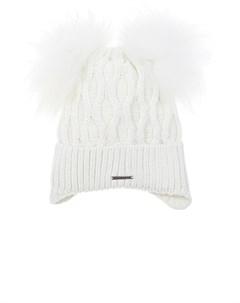 Белая шапка с двумя помпонами детская Freedomday