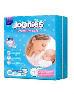 Подгузники Premium Soft размер NB 0 5 кг 24шт Joonies