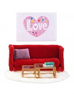 Кукольная мебель Смоланд Гостиная в красных тонах Lundby