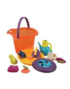 Большое ведерко и игровой набор для песка оранжевый B.toys