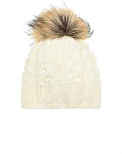 Белая шапка из шерсти с меховым помпоном Parajumpers