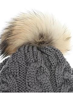 Серая шапка из шерсти с меховым помпоном Parajumpers