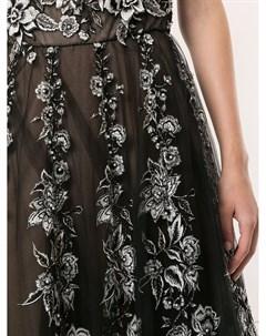 Платье из тюля с цветочной вышивкой Marchesa