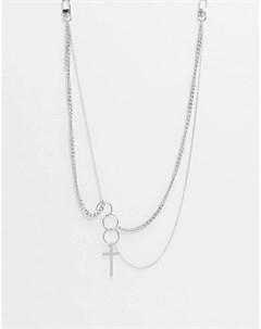 Серебристое ожерелье цепочка с крестом и подвесками кольцами Vibe and Carter эксклюзивно для ASOS Vibe + carter