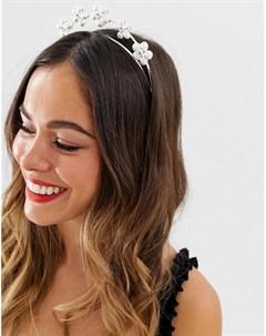 Ободок для волос серебристого цвета с цветочным принтом Asos design