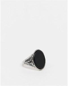 Серебристое кольцо с черным ониксом inspired Reclaimed vintage