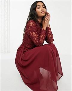 Бордовое платье миди с кружевом Chi chi london