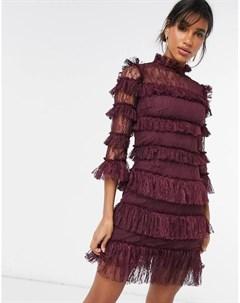 Платье мини сливового цвета с анималистичным узором By malina