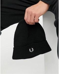Черная шапка бини с отворотом Fred perry