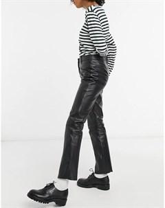 Черные узкие кожаные брюки с завышенной талией Muubaa