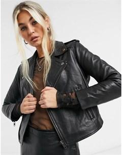 Черная кожаная байкерская куртка укороченного кроя Muubaa