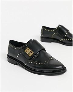 Черные кожаные монки с заклепками Asos design