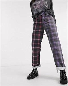 Джинсы из комбинированного материала в клетку в стиле папины джинсы The ragged priest