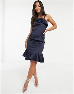 Темно синее платье на одно плечо с оборками Chi chi london