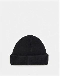 Черная шапка бини из овечьей шерсти Asos design