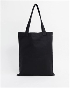 Черная моющаяся кожаная сумка тоут для тяжелых вещей Asos design