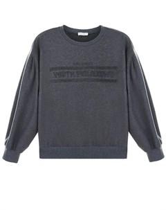 Серый свитшот с надписью youth philosophy детский Brunello cucinelli