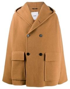Двубортное пальто с капюшоном Oamc