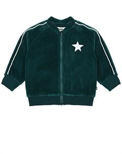 Зеленая спортивная куртка из велюра детская Molo