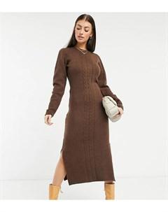 Трикотажное облегающее платье миди насыщенного коричневого цвета Native youth