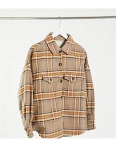 Клетчатая куртка рубашка в стиле oversized из ткани с добавлением шерсти Native youth