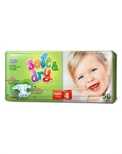 Подгузники Soft Dry Maxi 4 7 18кг 9 14кг 50шт Helen harper