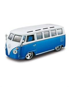 Коллекционная машинка PLUS Volkswagen Van Samba 1 32 синий Bburago