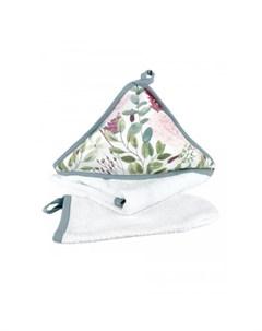 Комплект для купания новорожденных Пионы полотенце и мочалка Mom'story design