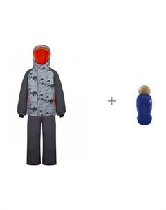 Комплект куртка полукомбинезон GW20BS245 Серый и шлем шапка AC1051B для мальчика Gusti