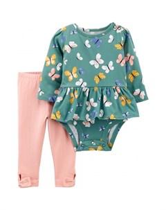 Комплект для девочки полукомбинезон и брюки 1J199710 Carter`s