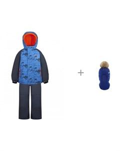 Комплект куртка полукомбинезон GW20BS245 Синий р ры 92 110 и шлем шапка AC1051B для мальчика Gusti