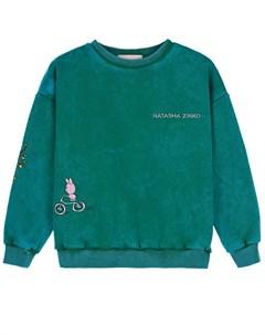 Зеленый свитшот для девочек детский Natasha zinko