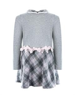 Серое платье с юбкой в клетку детское Aletta