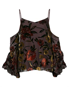 Блузка с цветочным узором и вырезными деталями на плечах Amanda uprichard