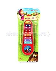 Музыкальный инструмент Металлофон Маша и Медведь с часами Играем вместе