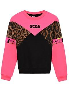 Розовый свитшот colorblock детский Gcds