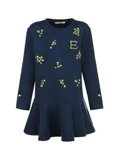 Синее платье со стразами детское Ermanno scervino