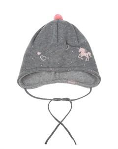 Серая шапка с принтом единорог детская Maximo