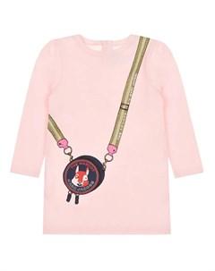 Розовое платье с принтом Сумка детское Little marc jacobs