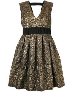 Металлизированное платье с V образным вырезом Si jay