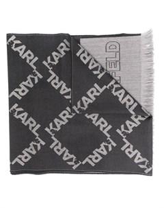 Шарф вязки интарсия с логотипом Karl lagerfeld